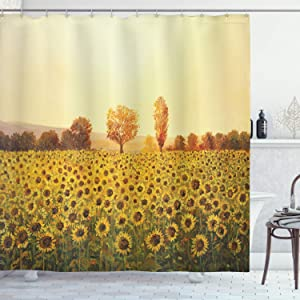 Ambesonne Landscape Shower Curtain, Sun Flowers Field at Sunset Forest Background with Sun Oil Painting Image, Cloth Fabric Bathroom Decor Set with Hooks, 75