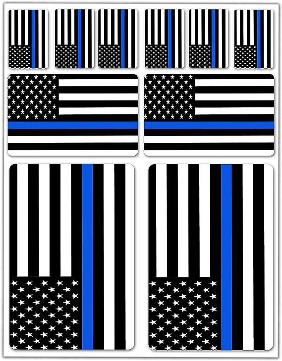 10 X Vinyl Sticker Car Sticker Flag Usa America American Thin Blue Line Car Moto Motorcycle Bike Scooter Window D 37 Auto