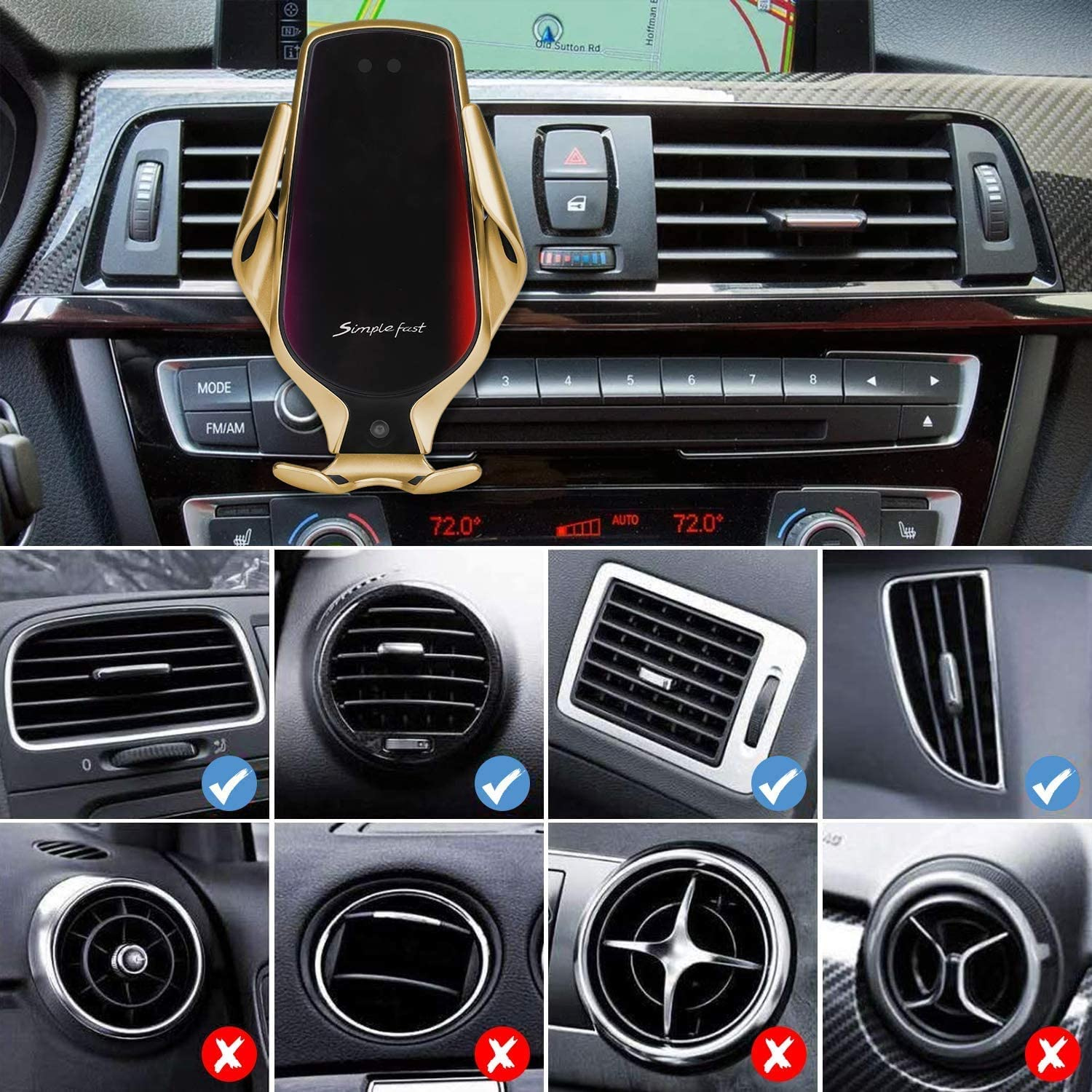 Samsung Galaxy Note 9 // S9 // S9 + Windshield Dash Air Vent Phone Holder for iPhone 11 // Xs//Xs Max//XR//X // 8 Wireless Car Charger IR Inducing Smart Sensor Auto-Clamping Car Mount Black