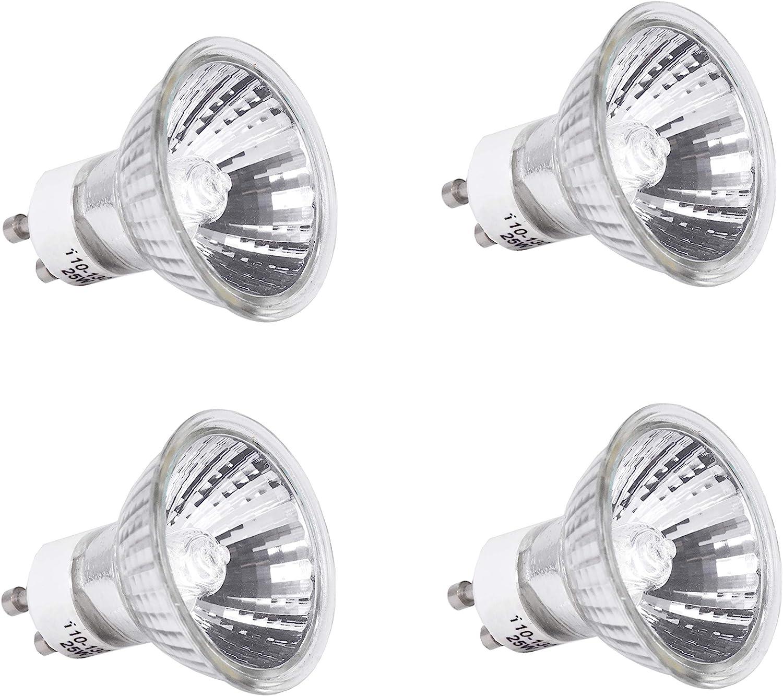 Mandala Crafts Replacement Bulb for Candle Warmer, Scent Wax Burner, Fragrance Melt; Halogen 120v 25-watt GU10, 4 Packs