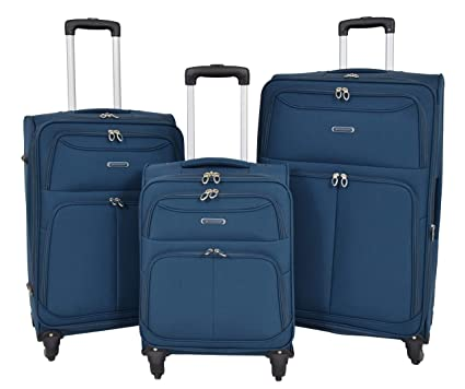 747ac1f75cd5 Lightweight Suitcases 4 Wheel Luggage Blue Soft Case Expandable ...