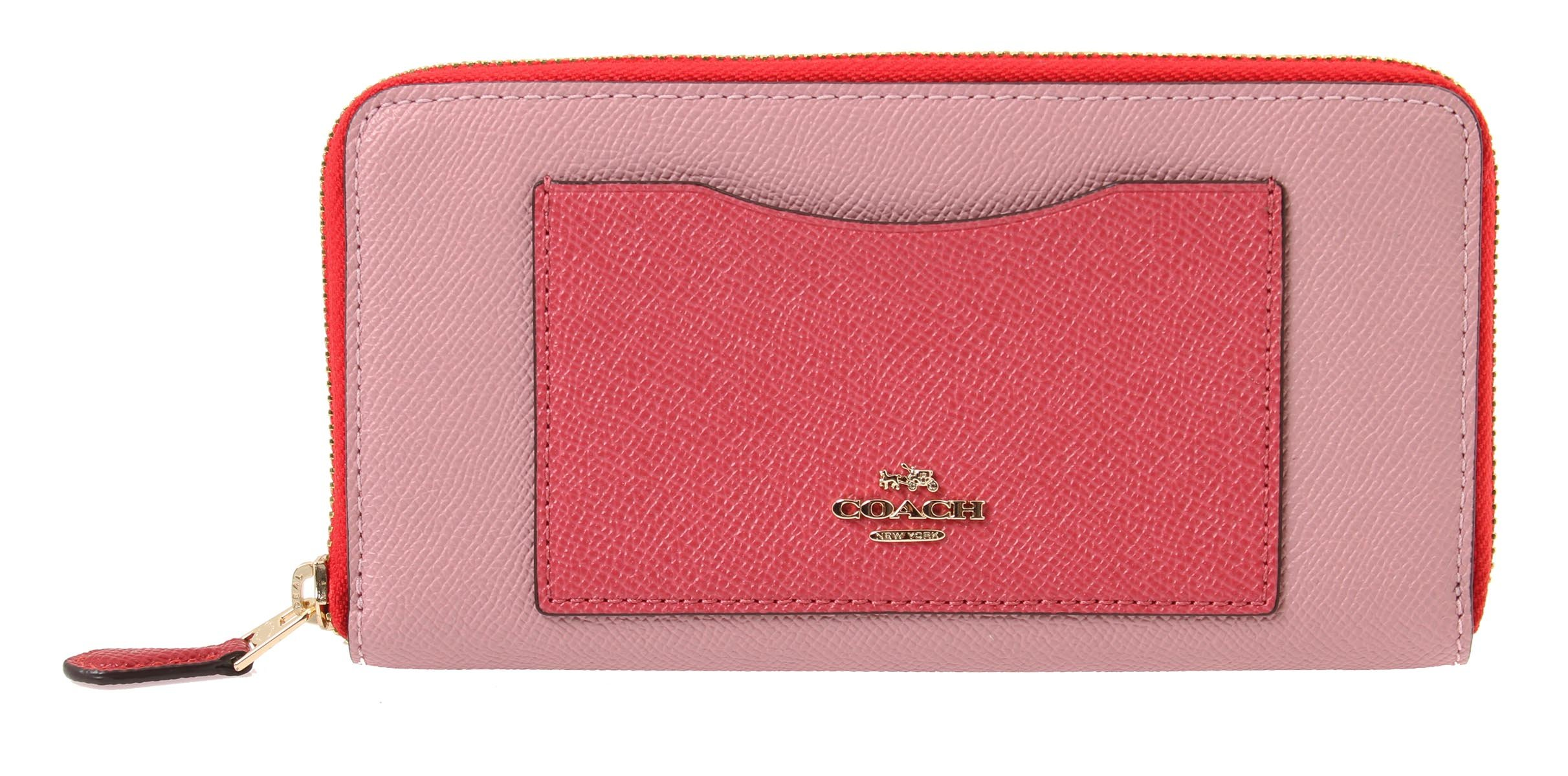 Coach Accordion Zip Wallet in Geometric ColorBlock, F57605 (Strawberry/Oxblood Multi)