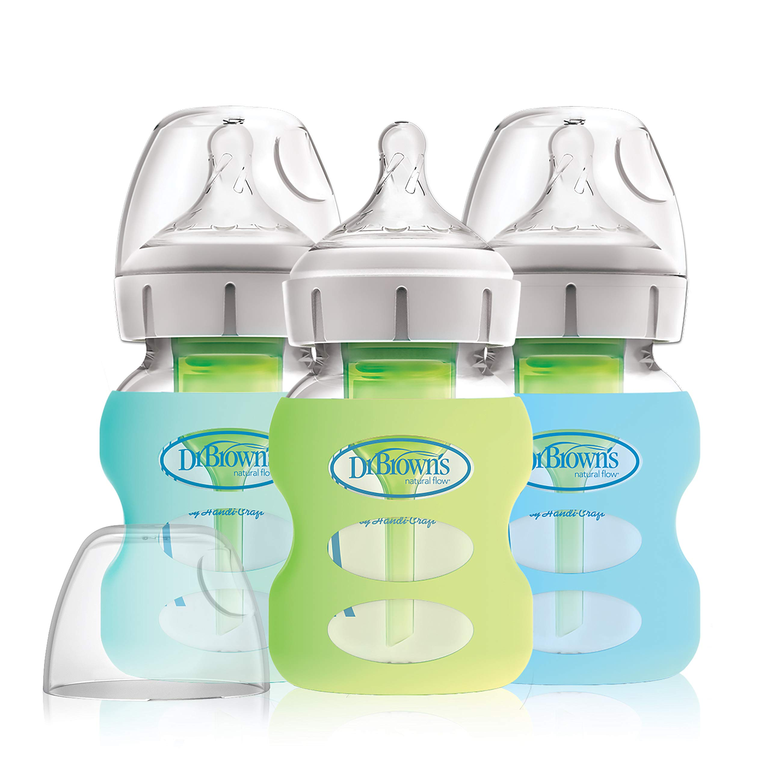 Dr. Brown's Options+ Wide-Neck Glass Baby Bottles in Silicone Sleeve, Mint/Green/Blue, 5 Ounce, 3 Count
