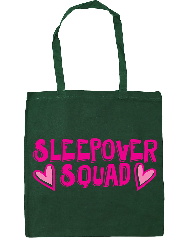 HippoWarehouse Sleepover squad Tote Shopping Gym Beach Bag 42cm x38cm, 10 litres 8796-TOTE-Black