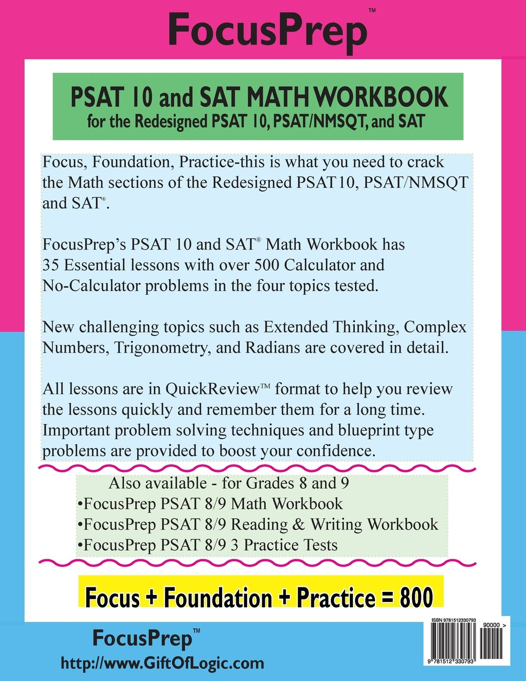 PSAT 10 and SAT MATH WORKBOOK: for the Redesigned PSAT 10, PSAT ...