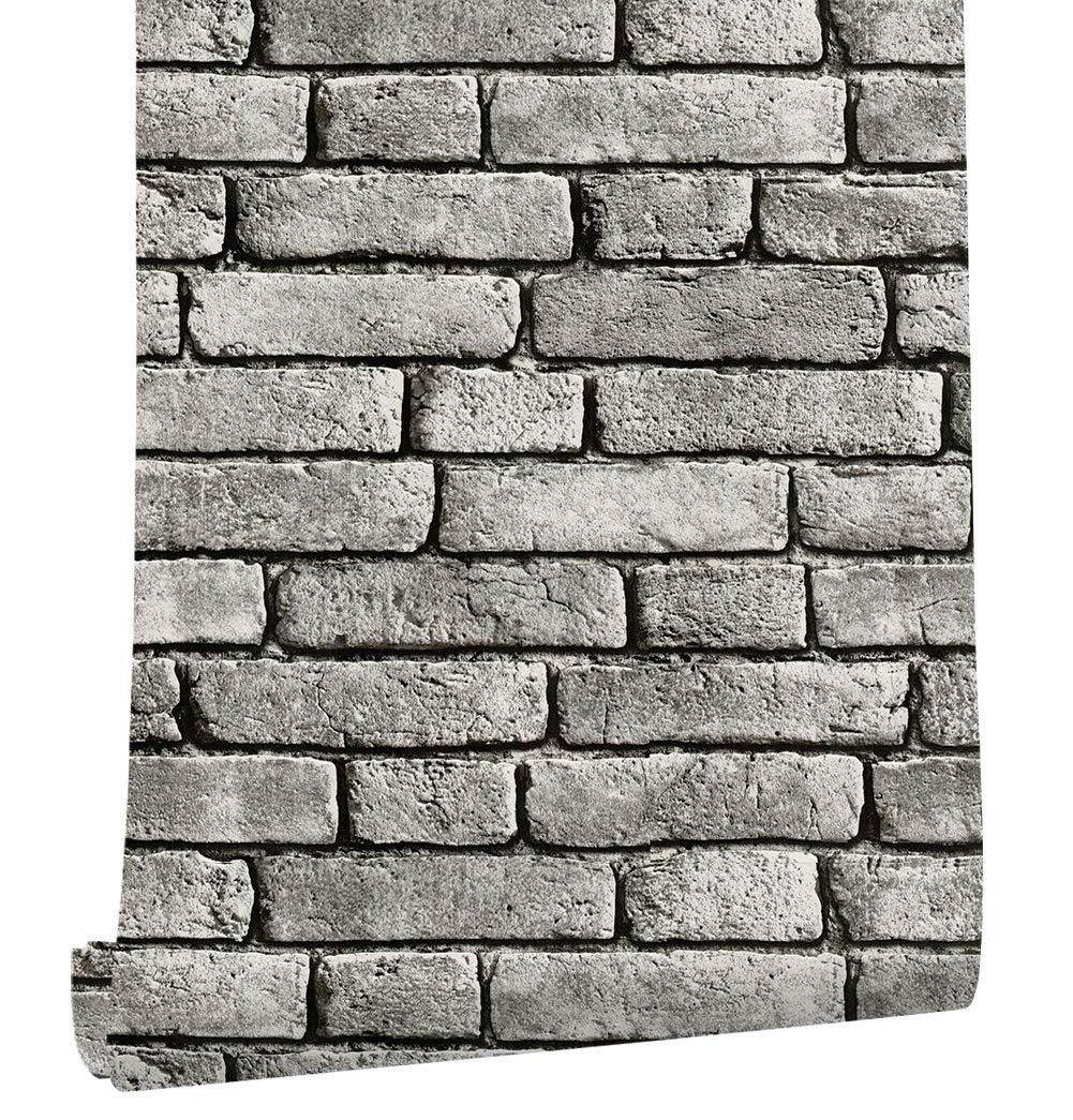HaokHome 130105 Vintage Faux Brick Textured Wallpaper Roll Gray/Black/White 3D Vinyl Home Kitchen Bathroom Decoration 20.8'' x 33ft
