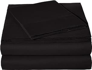 Amazon Basics Juego de sábanas Microfibra, 100% poliéster, Negro