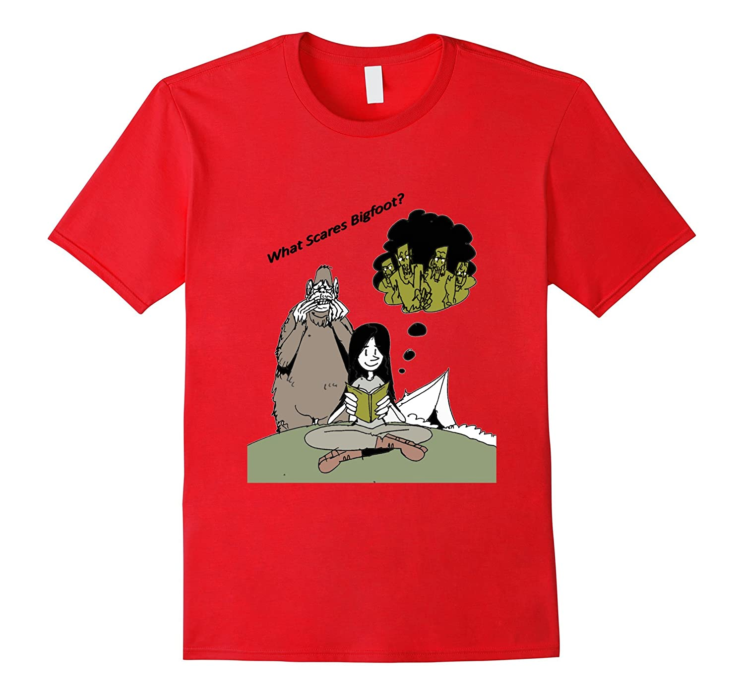 What Scares Bigfoot? T-Shirt Girl reading about Walking Dead-TH