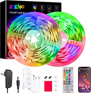 Led Strip Lights 65.6 Feet, LPENG Led Lights Strip Color Changing Led Lights Music Sync with APP Controller, 44 Key Remote for Bedroom Home Party(2x32.8FT)