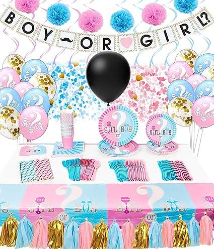 "Gender Reveal Pink Blue Baby Shower Party Supplies 7/"" Paper Dessert Plates   7-9"