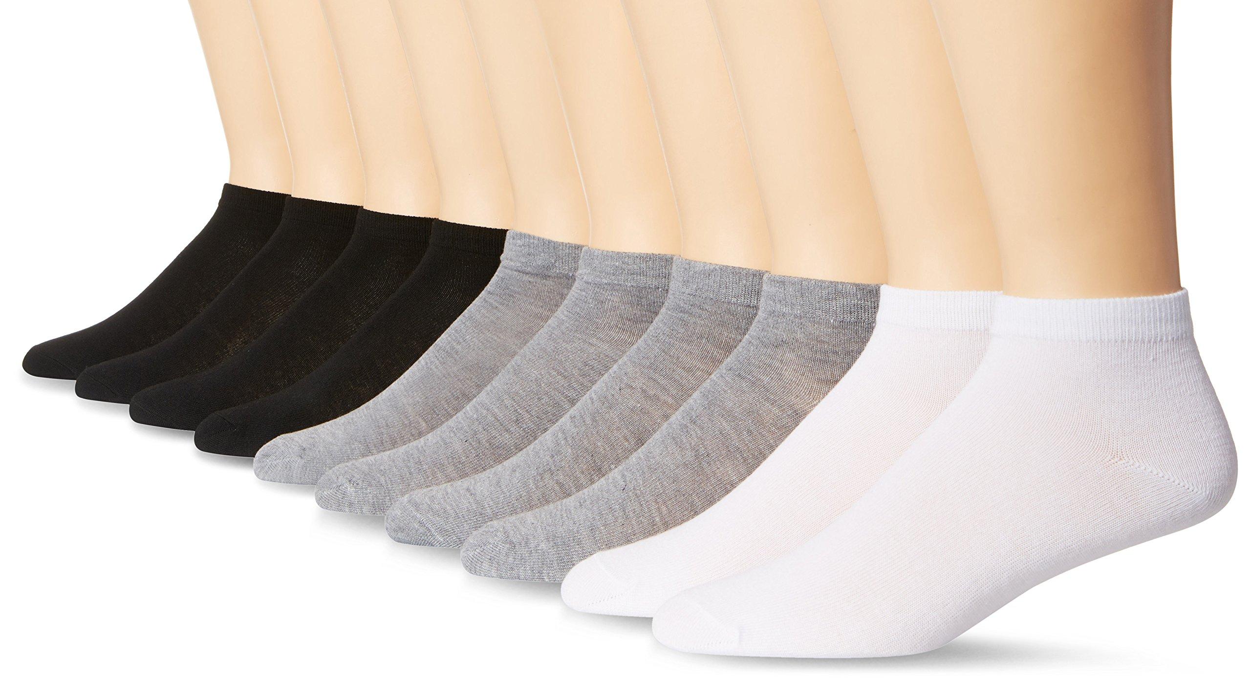 Signature Brands Men's 10 Pack Athletic Low Cut Sock, Black/Grey/White, Sock Size: 10-13/Shoe Size:9-11