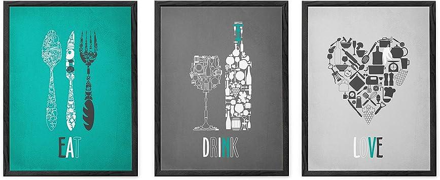 Timprint Turquoise Gray Kitchen Decor Funny Kitchen Prints Kitchen Wall Art Teal Kitchen Wall Decor Set Of 3 Prints Teal Gray Dining Room Decor Framed Print Wall Art Amazon Ca Baby