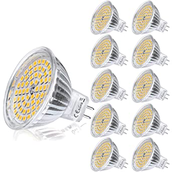 Yafido 10x MR16 LED 12V GU5.3 Bombilla 5W Blanco Calido Equivalente a Halogeno 35W