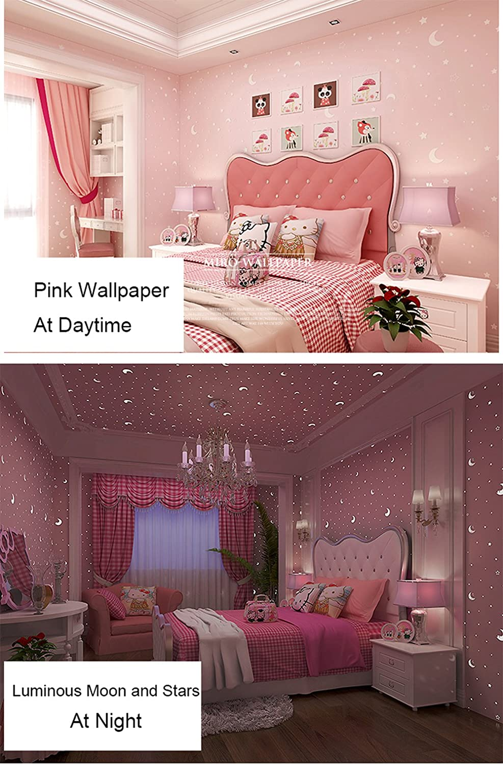 Glow in the Dark Kids Pattern Contact Paper Self Adhesive Non Woven Wallpaper for Girls Bedroom Christmas Home Wall Decor Sticker (Pink, 20.83 Inches By 9.8 Feet) MagicValley GL001