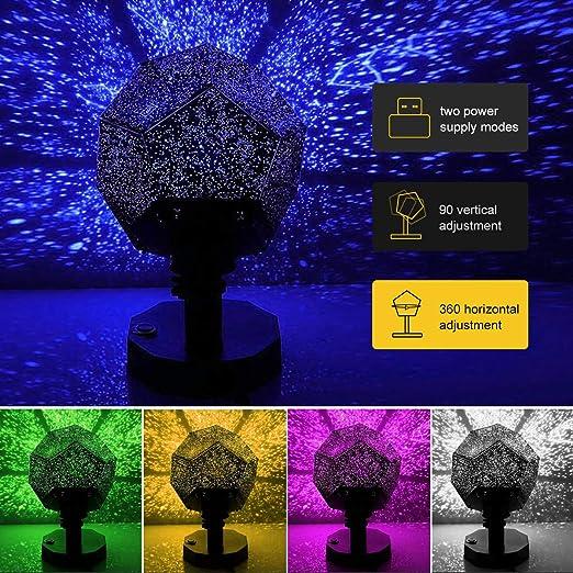 Lisnece - Proyector de luz para bebé, luces de estrella, proyector ...