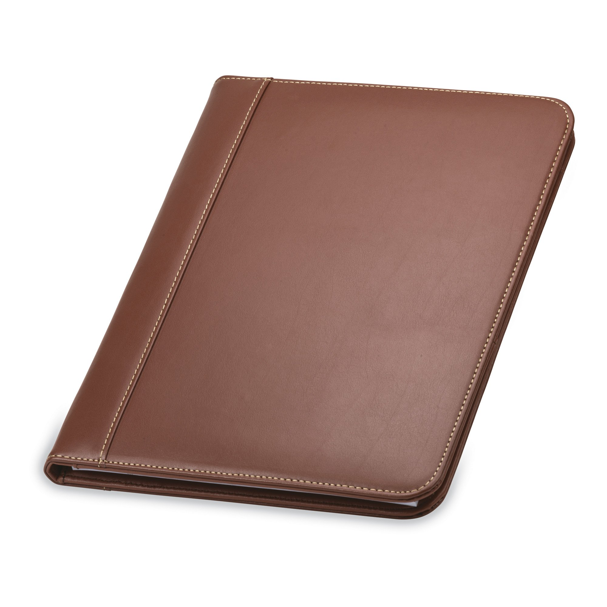 Samsill Contrast Stitch Leather Padfolio - Portfolio Folder/Business Portfolio for Men & Women - Resume Document Organizer, 8.5 x 11 Writing Pad, Tan by Samsill
