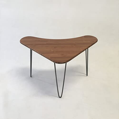 Rounded Triangle Caramelized Bamboo Boomerang Coffee/Cocktail Table    Atomic Era   Biomorphic Design