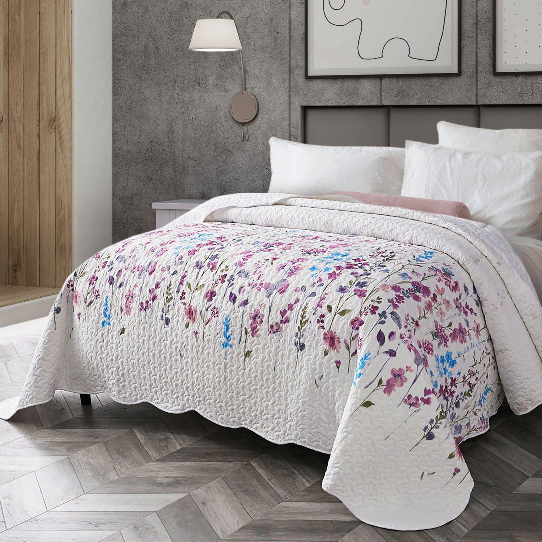 Bedsure Purple Floral Bedspread for Bedroom Modern Hypoallergenic Breathable Microfibre Quilted Bedspread, Microfibre, Blumen#2, 220 x 240 cm Bedshe