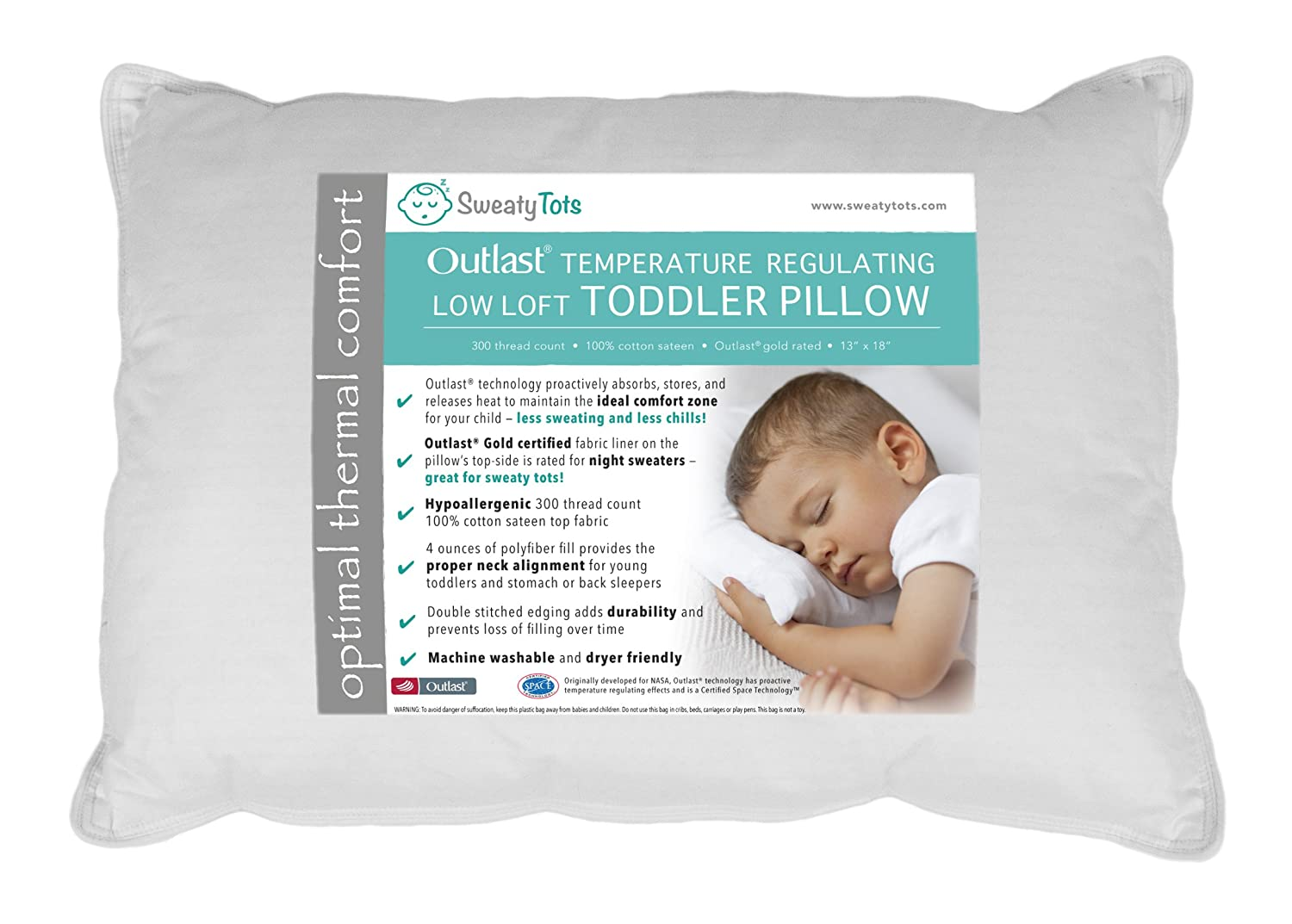 Toddler Pillow for Hot Or Sweaty Sleepers - 13 x 18, White, 300TC Cotton Sateen, Features Outlast(R) Temperature Regulating Technology to Reduce Overheating (Low Loft) Sweaty Tots