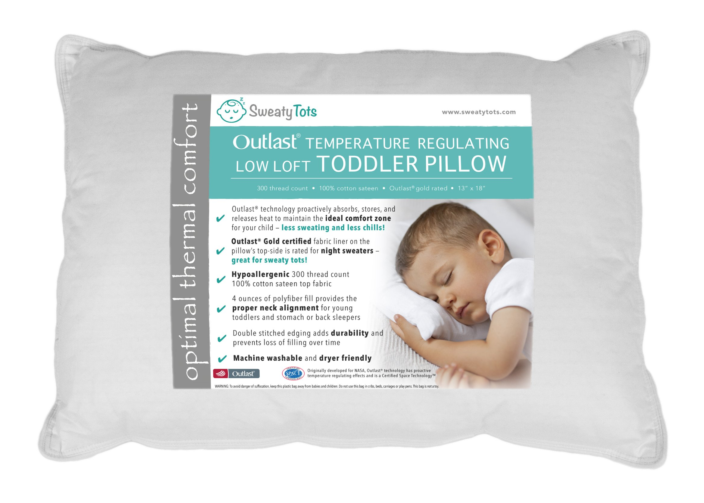 Toddler Pillow for Hot or Sweaty Sleepers - 13 x 18, White, 300TC Cotton