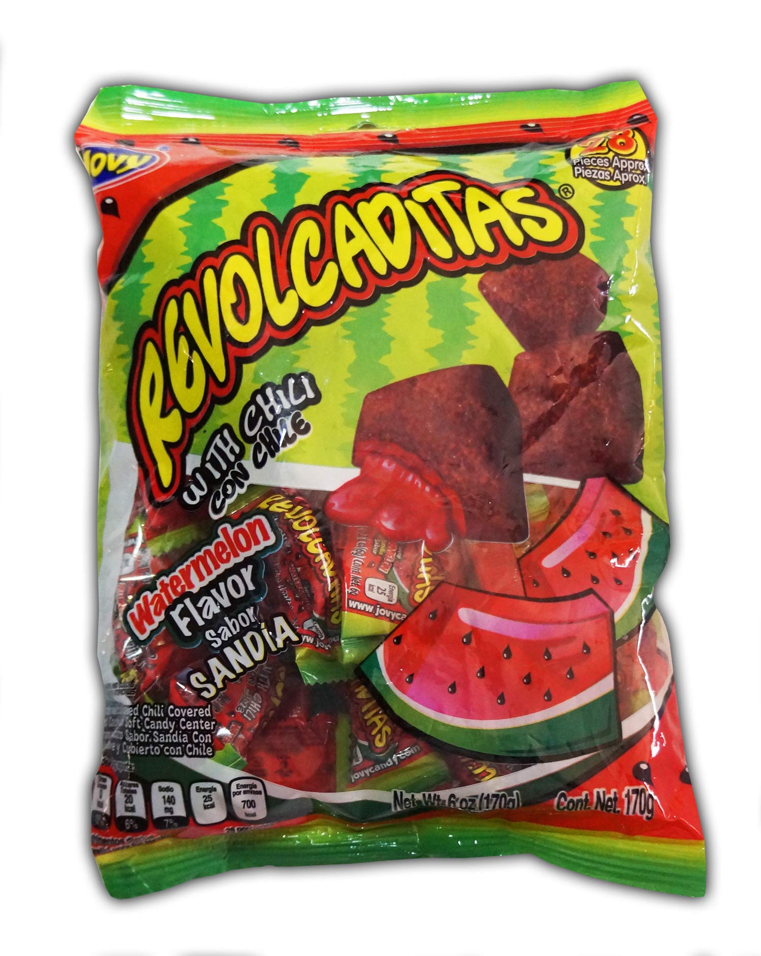 Jovy Revolcaditas with Chili Watermelon   6oz Bag   Spicy Candy