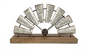 Everydecor Galvanized Half Windmill Decor