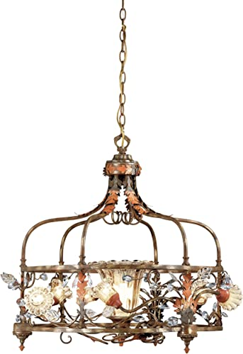 Eurofase 14445-019 Calista 7-Light Chandelier, Russett Clear Crystal