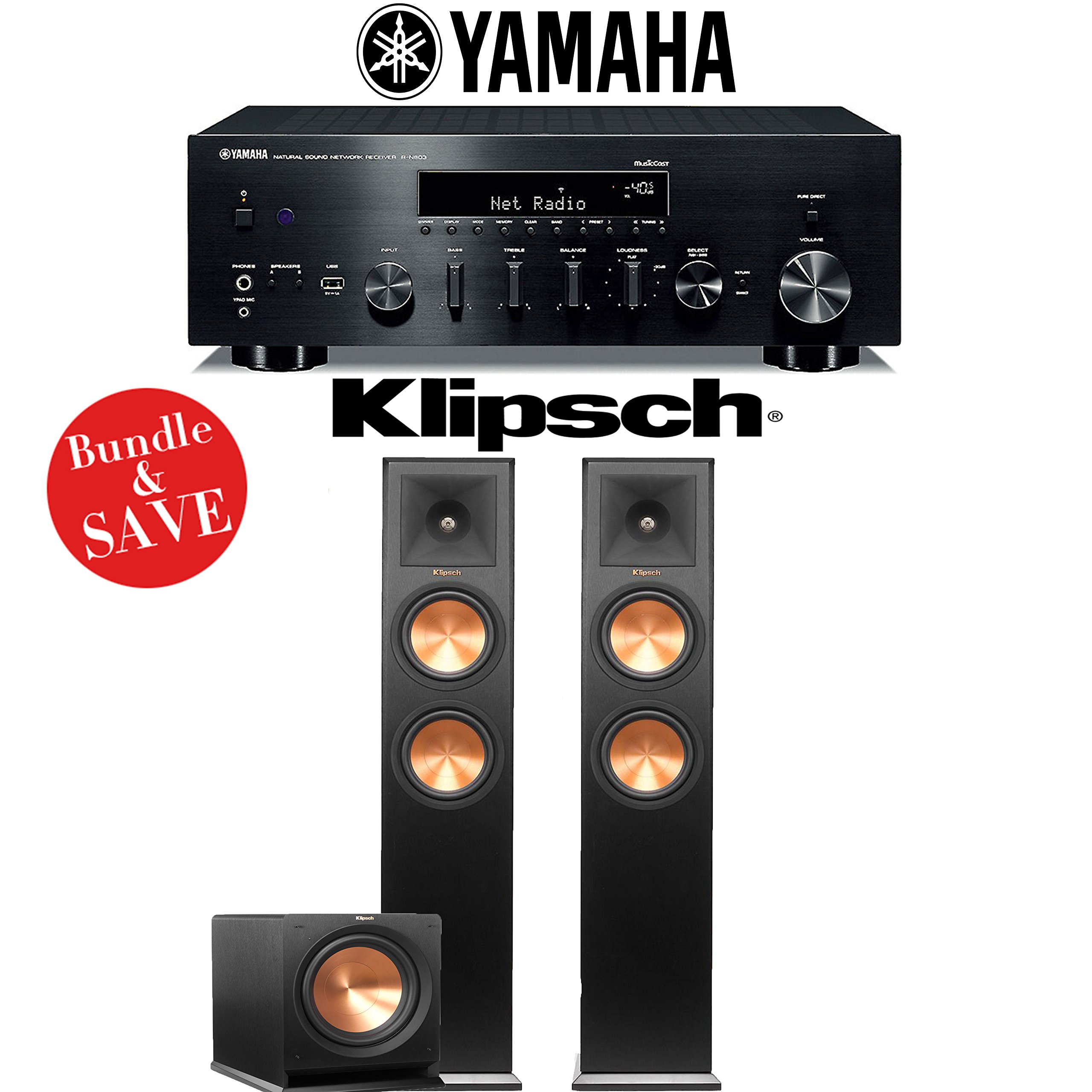 Yamaha R-N803BL Network Stereo A/V Receiver + Klipsch RP-260F + Klipsch R-112SW - 2.1-Ch Home Theater Package by Yamaha
