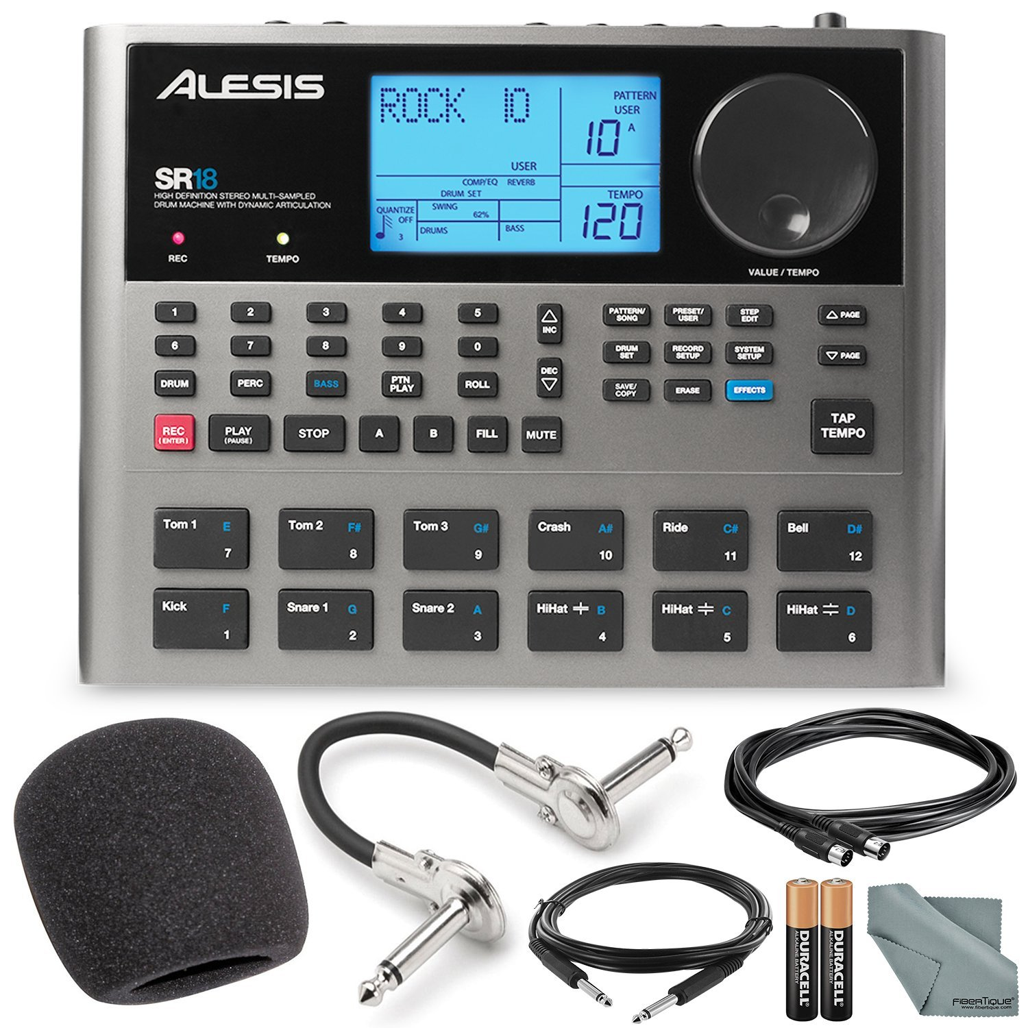Alesis SR18 18 Bit Portable Drum Machine with Effects and Platinum Bundle w/Microphone + Headphone + Cables + Fibertique + Batteries & Charger + Mic Stand & Windscreen Photo Savings