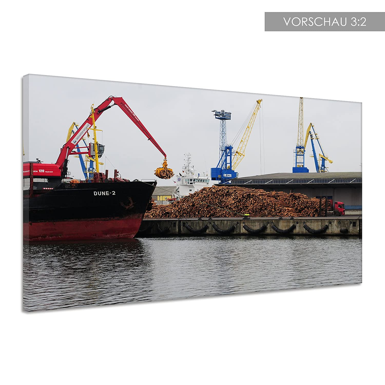 Amazon.de: Kran Hafen Holz Wasser Umschlag Arbeit Meer Leinwand ...
