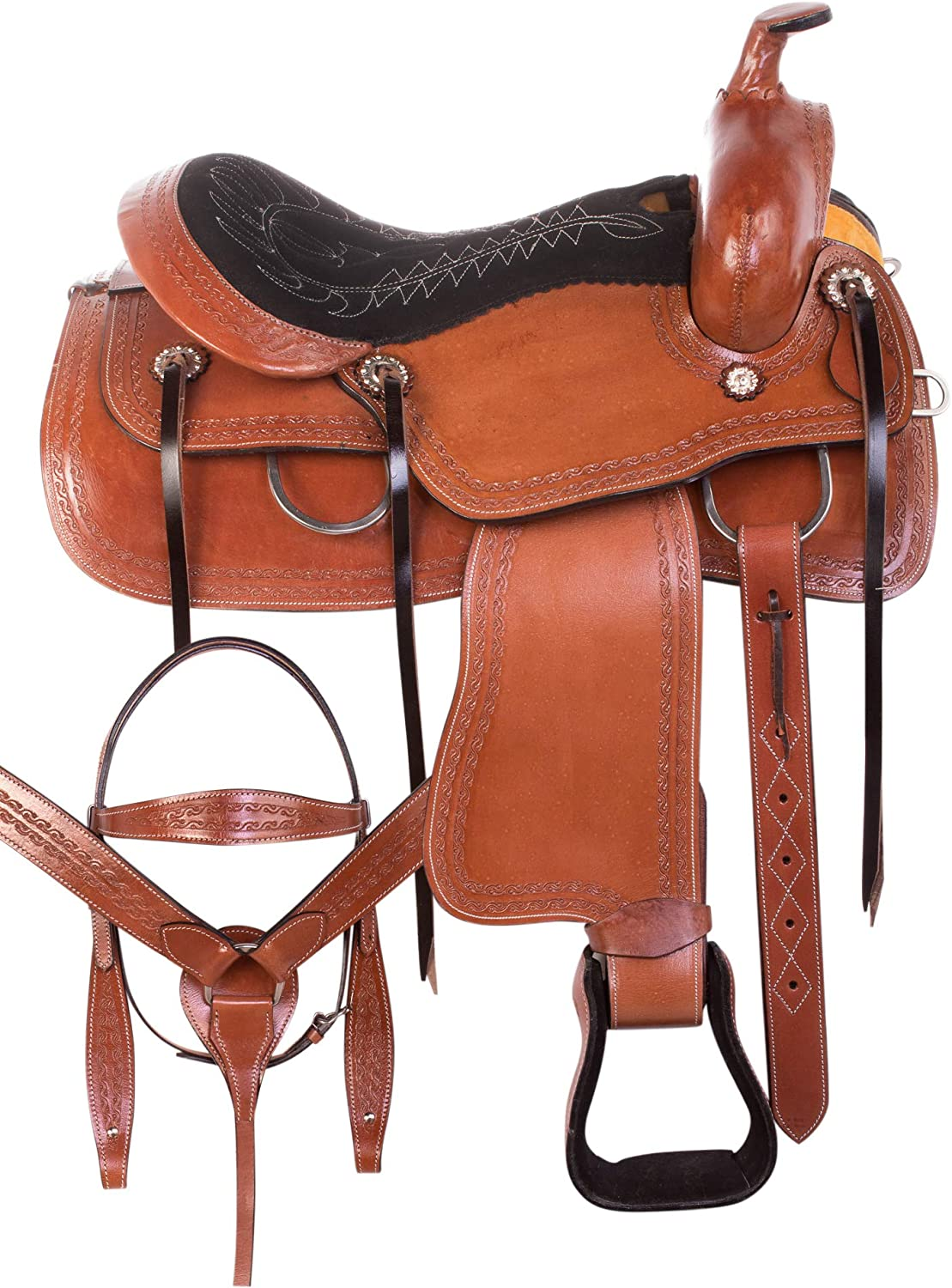 AceRugs Western Ranch Saddle 15 16 17 18 Premium Boarder Tooled Leather Comfy SEAT Pleasure Trail Horse Saddle TACK
