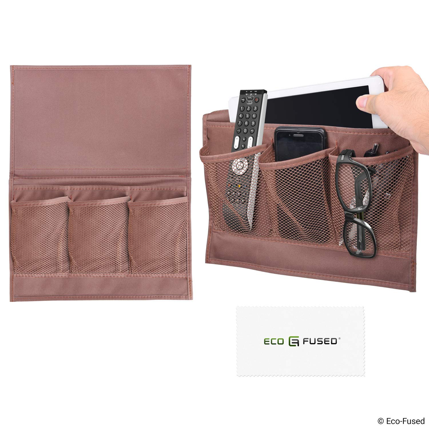 Bed Side Pocket Organizer - Set of 2 - Chocolate Brown - This Storage Caddy Keeps Things Within Reach of Your Sofa/Bed - for Example: Remote Control, Phone, Tablet, Magazine, Eyeglasses, etc. Eco-Fused D0702-BSC-2BR