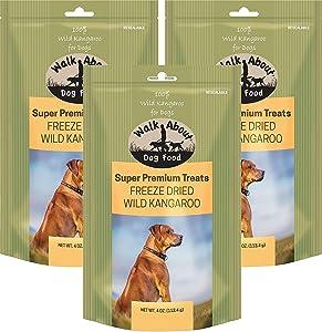 Walkabout Dog Food 3 Pack of Super Premium Freeze Dried Wild Kangaroo Dog Treats, 4 Ounces Per Pack