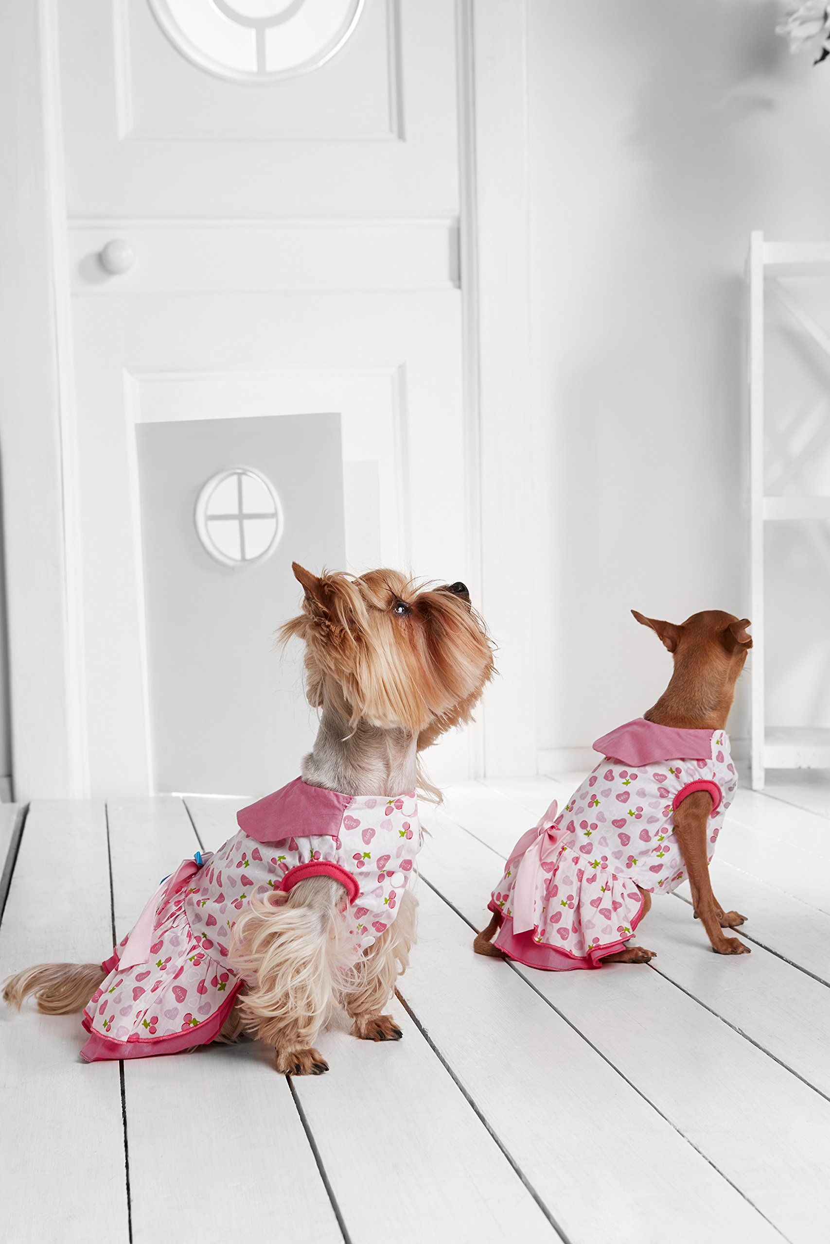 """Small Dog Dressing Gown With Satin Bow Snap Closure Girl Dogs Cotton Summer Dress (Toy Plus: 10"""" / 5-9 lbs, Pink, White)"""
