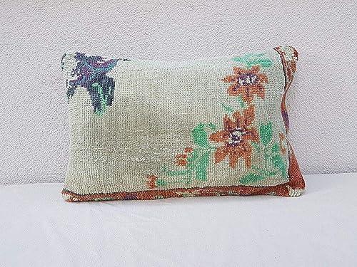 Large Boho Antique Grain Sack Pillow,Fire Place Lumbar Cushion Cover,Tribal Oushak Striped Kilim Pillow Case,Turkish Kilim Grain Sack,1983