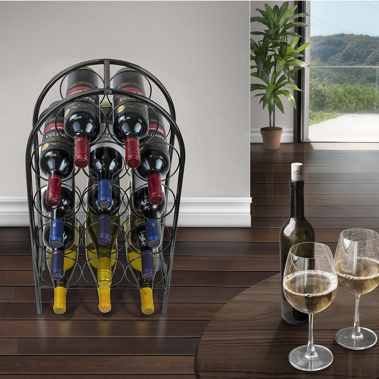 Sorbus Wine Rack Stand Bordeaux Chateau Style - Holds 14 Bottles of Your Favorite Wine - Elegant Storage for Kitchen, Dining Room, Bar, or Wine Cellar (14 Bottle - Black) by Sorbus (Image #3)