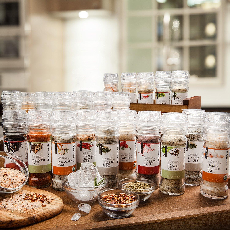 Gourmet Flavored Dead Sea Salt in Grinder, Garlic Milano, 3.5 oz by Aromasong (Image #3)