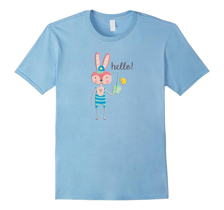 Cute Animal Rabbit Bathing Suit Drinking Hat Hello T-Shirt