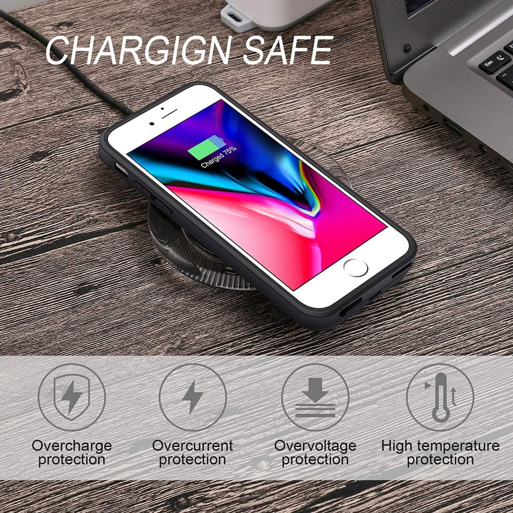 Not Battery Qi Wireless Charging Case for iPhone 7//6 ANGELIOX Wireless Charger Charging Receiver Back Cover,Soft TPU Protective Case,Brushed Surface Finish,with Cable Charging Port 4.7 inch