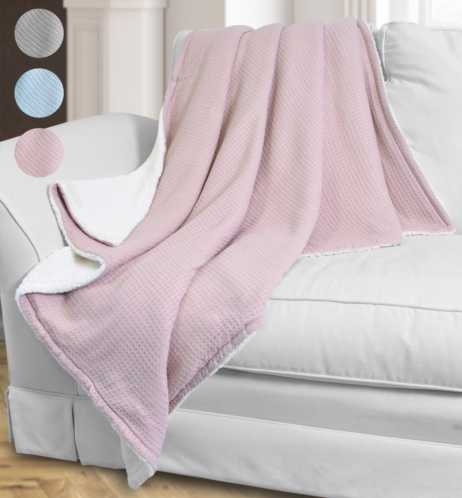 Catalonia Sherpa Throw Blanket,Reversible Cozy Knit Waffle Pattern ...