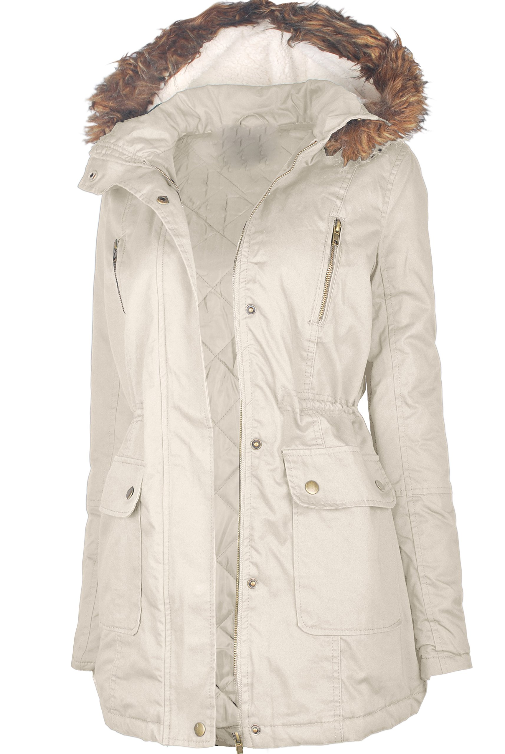 Ollie Arnes Women's Quilted or Inner Fur Lined Sherpa Anorak Down Parka Jacket CP013 Khaki L