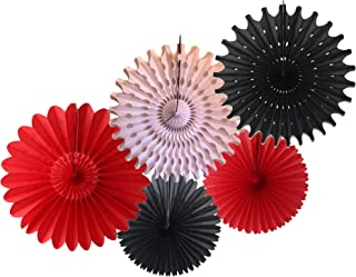 product image for 5-Piece Tissue Paper Party Fans, Red White Black (13-18 Inch)