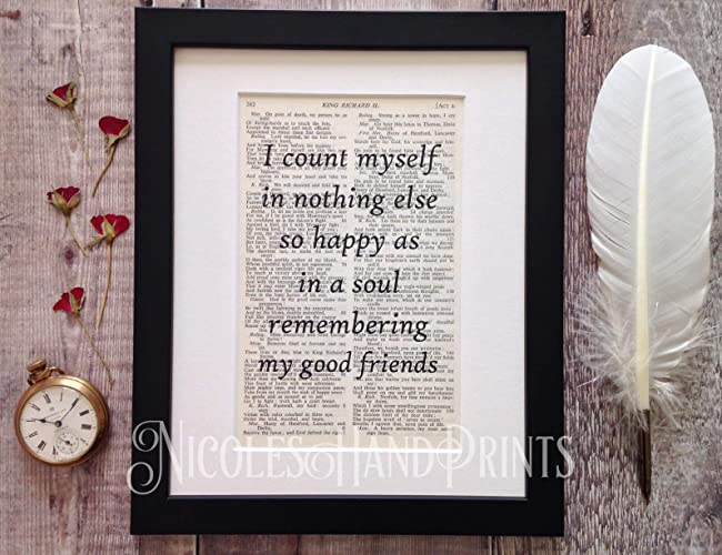 shakespeare quote art print gift for friends friendship quotes