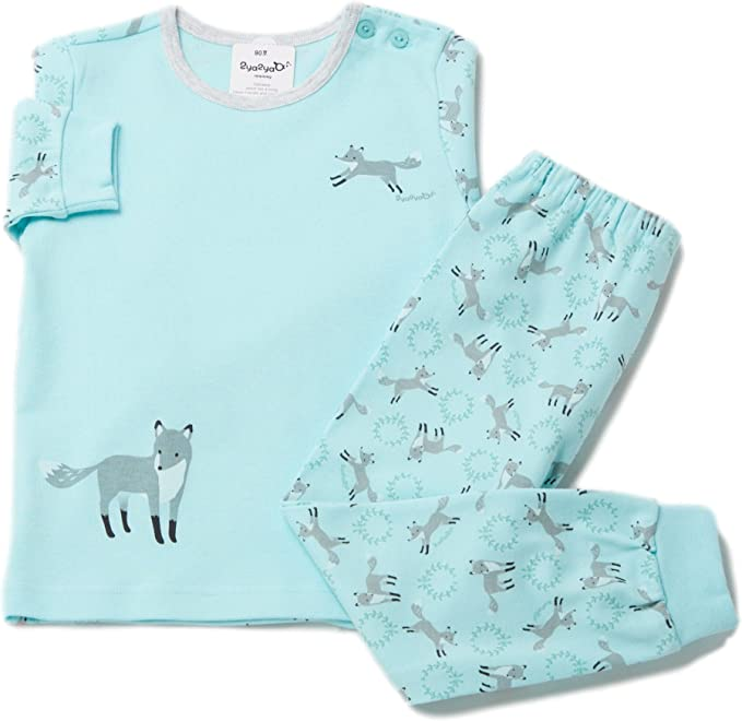 Ivory 2Ya2YaO Korean Cotton Paper Animals Baby Boy 2 Piece Sleepwear Pajamas Set
