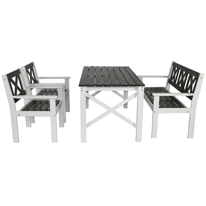 Lesli Living 4-teilige Gartenmöbelgruppe Tapa, 2 Sessel, Bank, Tisch, Kiefernholz