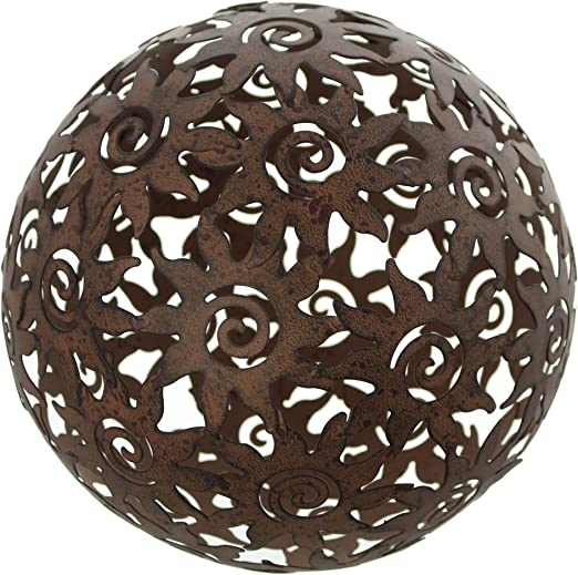 Bola de decoración sol, Déco de jardín, metal marrón acabado antiguo, diseño de sol, efecto oxidado: Amazon.es: Jardín