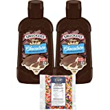 Smucker's Magic Shell Ice Cream Topping, Chocolate Flavor, 7.25 oz Bottles (Pack of 2) with By The Cup Rainbow Sprinkles