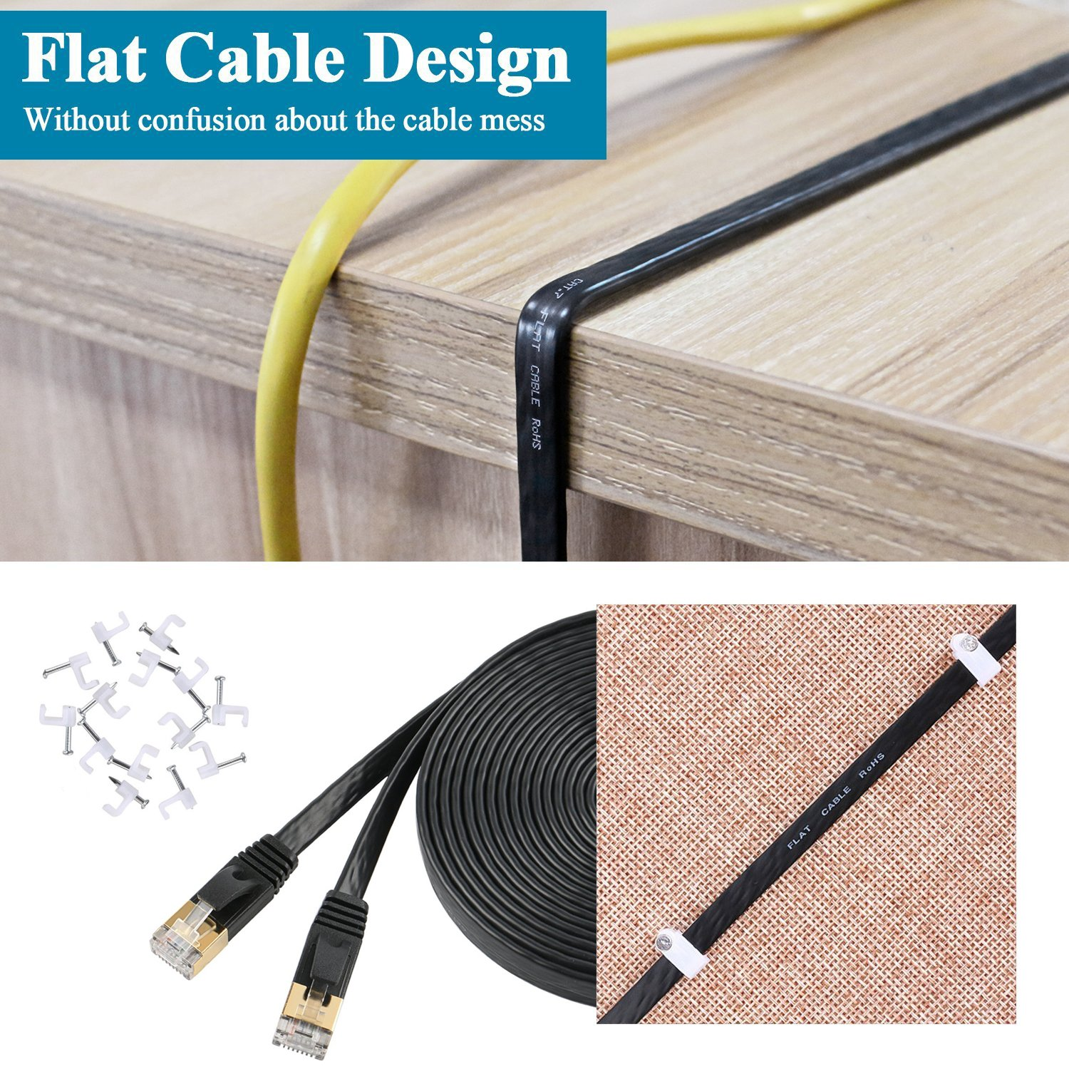 30m Cat 7 Ethernet Cable Fastest Cat7 Flat Patch Cables Rj5 Wiring Diagram 750mhz 10gb Internet For