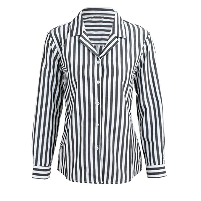 ae2d3235 Shilian Clothing Stylish Women Striped Button Front Turn Down Collar Blouse  Long Sleeve Loose Tops Ladies Clothes at Amazon Women's Clothing store: