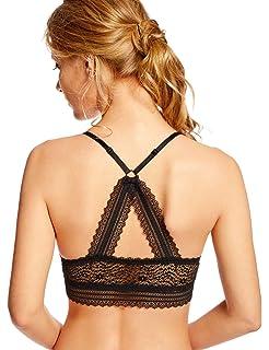 61e5a88048 DOBREVA Women s Wire Free Deep V Lace Back Lightly Lined Soft Lace Bralette